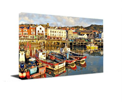 Scarborough Harbour  Framed Canvas Wall Art